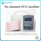 Marcação digital portátil com tela de toque de seis canais máquina de ECG eletrocardiógrafo