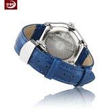 Runde künstliche blaue lederne Brücke-Quarz-Armbanduhr