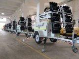 9m Foldable 등대 투광 조명등 발전기 LED 등대 트레일러 단 하나 광업