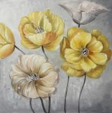 Rosafarbenes Blumen-HandÖlgemälde - Segeltuch-Wand-Kunst