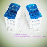 Блок распределения голубого цвета модульный