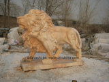 Art en pierre normal découpant la sculpture en animal/lion pour l'horizontal/décoration