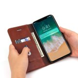 Cas magnétiques de dispositif de couverture de stand de livre folio mince en cuir d'unité centrale avec les fentes par la carte de crédit pour Apple Iphonex