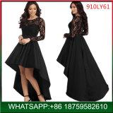 2018 Fashion Mulher parte longa preta vestido formal com rendas