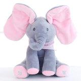Peek do elefante do luxuoso um brinquedo elétrico da vaia com agitar as orelhas com fala
