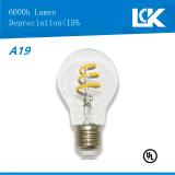 Nueva bombilla espiral del filamento LED de CRI90 8W 800lm A19