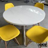 Tabella pranzante di superficie solida di marmo artificiale 170224 di rettangolo bianco