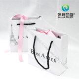 Saco de empacotamento do presente branco feito sob encomenda da impressão do papel da compra com punhos