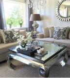 Espejos modernos rectángulo cuadrado superior de cristal mesa de café de opio en Acero Inoxidable