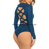 Bodysuit van het Verband van het Kant van de Hals van vrouwen de Sexy Ronde omhoog Open Achter Strakke Maillot Esg10439 van Jumpsuit