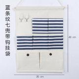 Algodão de moda 7 bolsos pendurado na parede Organizador com pólo de madeira