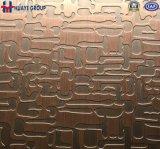 Cuivre rouge gravé en relief par plaque de feuille de couleur d'acier inoxydable