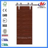 Porte de grange en bois moulée en bois solide de placage (JHK-F)