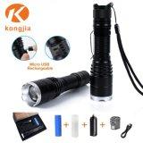 Nachladbare LED Taschenlampe bewegliches der Fackel-T6 Licht USB-