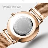 Het Horloge van het Roestvrij staal van de Pols van de Douane van het Kristal van de Saffier van de manier voor Vrouw