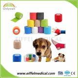 Atadura coesiva médica do envoltório do veterinário com as cópias da pata para animais de estimação