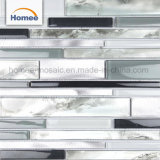Los patrones de mosaico de la pared de lujo en aluminio gris claro de Gaza el cuarto de baño mosaicos de vidrio