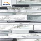 Luxuxwand-Fliese-Muster-hellgraues Aluminiumstreifen-Badezimmer-Glas-Mosaik