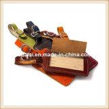Identificación de equipaje de viaje marbetes de cuero auténtico para equipaje etiqueta