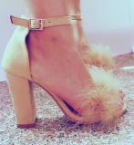レディース優雅なのぞき見のつま先の足首ストラップのブロックのかかとのサンダルの靴