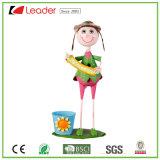 Dansende Meisje van het Metaal van de nieuw-stijl het Aanbiddelijke met Plantpots voor de Decoratie van het Huis en van de Tuin, OEM het Onthaal van Ontwerpen