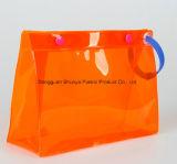 Semi-Transparent personalizado de PVC de color/EVA Bolsa Bolsa de cosméticos de material con el botón