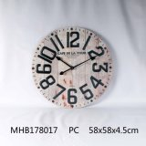 Le MDF Horloge murale avec numéros de métal en finition Blanc Anqtiue