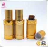 Bernsteinfarbige Glasduftstoff-Flasche mit goldenem Aluminiumdeckel