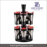 Tarro determinado del condimento de la botella de cristal del almacenaje de la especia de la vinagrera