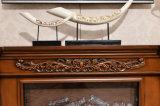 Escultura natural da bordadura da cornija de lareira da chaminé de pedra de Brown que cinzela a chaminé
