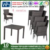Patio de mimbre del cuadrado del vector de las sillas de los conjuntos de los muebles del patio que cena el conjunto 5-Piece