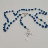 Katholische Rosenbeet-Kreuz-Halskette mit Steinraupen (IO-cr419)