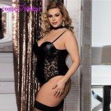 Lingerie sexy en cuir noir avec jarretière Teddy pour Fat Lady Plus Nuisette de taille