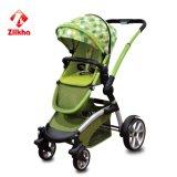 Carro-Carro do bebê da cor verde com frame e dois em um