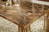 Tabela de jantar de mármore dourada luxuosa do aço inoxidável para Europa