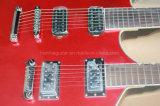 Cou Rouge Hanhai Double guitare électrique avec 6+6 des chaînes de caractères