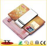 Silberner Metallgeld-Klipp und Kreditkarte-Klipp