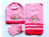 中国の工場農産物の習慣はセットされたピンクのアクリルの編まれた冬のスノーボードの帽子のスカーフの手袋を刺繍した