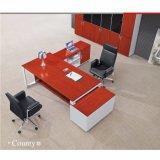 Tipo de trama metálica de escritorio con el administrador de mesa lateral en forma de L