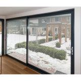 Materiales de construcción comercial de vidrio templado de puerta corrediza de aluminio