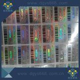 L'adhésif autocollant hologramme laser personnalisée avec code à barres et de micro texte