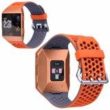 Courroie orange/grise de silicones pour le remplacement ionique de bande de montre de Fitbit