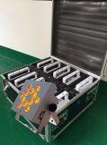 Batteriebetriebener Radioapparat LED der Rasha Qualitäts-Fabrik-12*18W 6in1 Rgbaw UVNENNWERT Lichtprojektor für Hochzeits-Ereignis mit Charing Straßen-Kasten