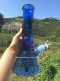 12 Zoll-Himmel-Blau-Becher-rauchendes Wasser-Rohr mit Leben-Baum-Abziehbild
