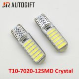Bulbos de cristal brilhantes super do diodo emissor de luz do carro 12SMD de 12V/24V T10 7020