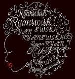 Em profundas raízes menina afro Rhinestone Hotfix Transferência Motif