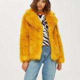 Womens Golden fausse manteau de fourrure usure extérieure