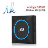 I98 Android 7.1.2 Fernsehapparat-Kasten mit Amlogic S905W 2GB RAM/16GB ROM mit LED-Licht, 2.4GHz WiFi Support 4K HD
