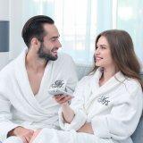 Felpa Felpa de algodón lujosas batas Unisex Hotel albornoz blanco