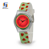 Nuevo diseño de logotipo personalizado reloj de plástico transparente para los niños